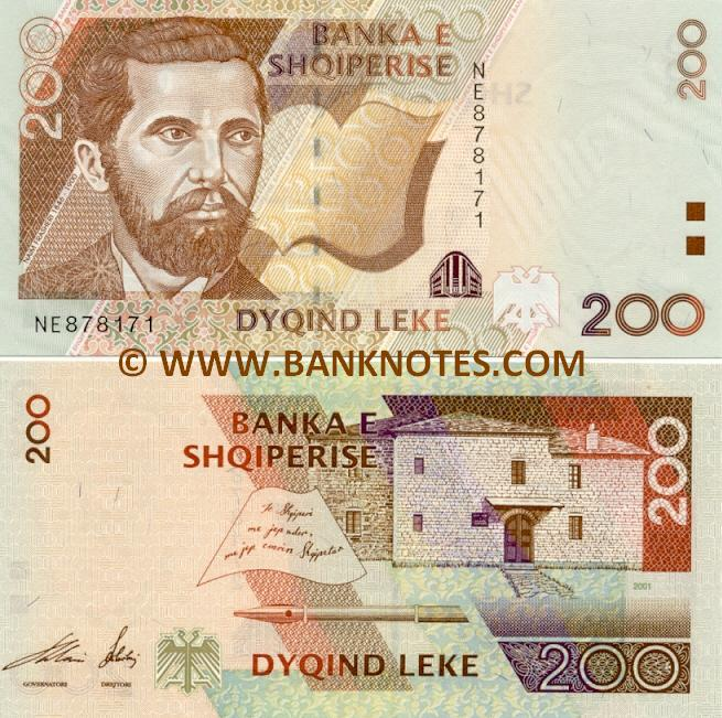 Albania 200 Lek 235 2001 Albanian Currency Bank Notes