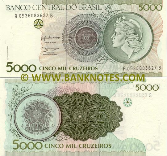Brazil 5000 Cruzeiros 1990 - Brazilian Currency Bank Notes, Paper Money, Banknotes, Banknote ...
