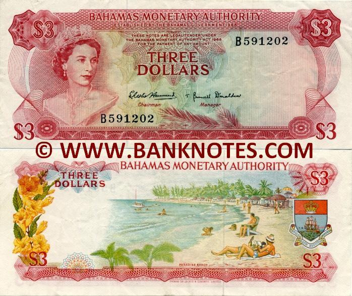 bahamas 3 dollars 1968 bahamian currency bank notes paper money