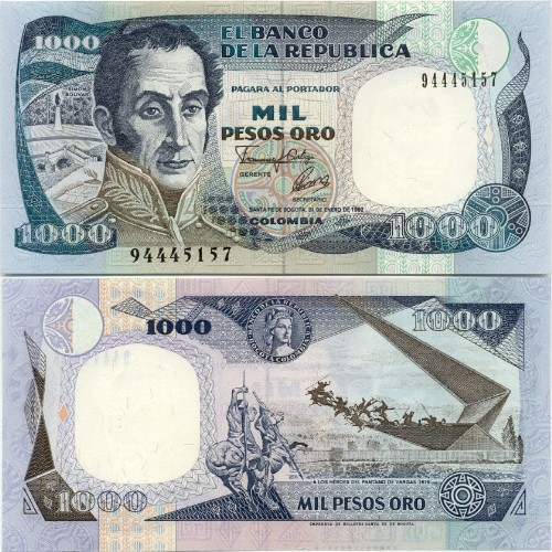 500  PESOS  ORO 1990 COLOMBIA P 431   Uncirculated Banknotes