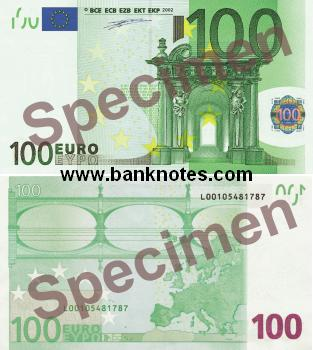 European Union 100 Euro 2002 - Euros Bank Notes, Paper Money ...