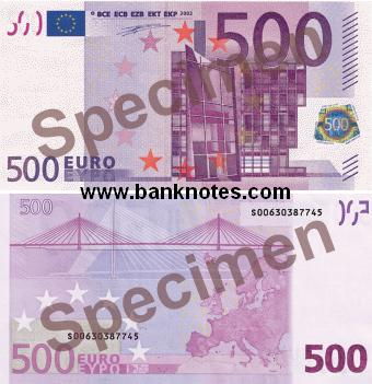 European Union 500 Euro 2002 - Euros Bank Notes, Paper Money ...