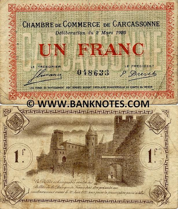 France 1 franc of chambre de commerce de carcassonne french currency bank notes paper money - Chambre de commerce carcassonne ...