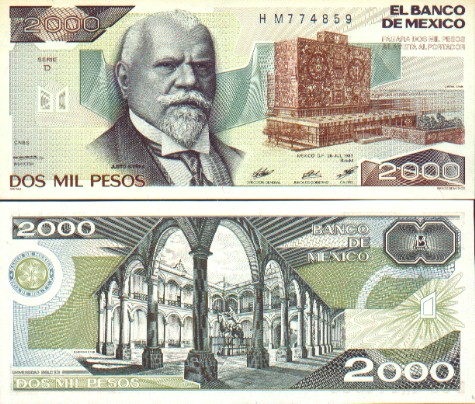 Mexico Mexican Peso Currency Bank Note Image Gallery