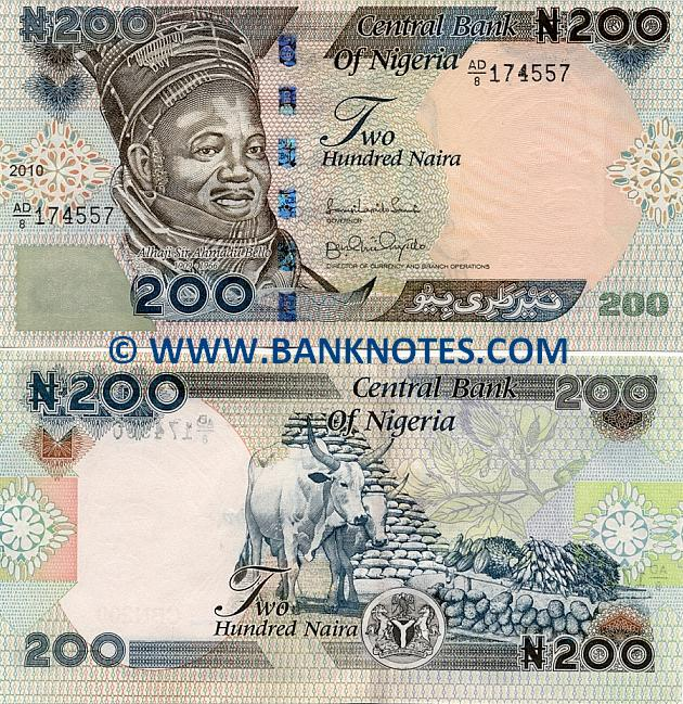 Nigeria 200 Naira 2000-2010 - Nigerian Currency Bank Notes, Paper