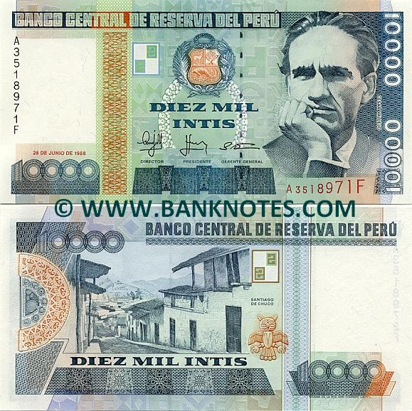Peru 10000 intis 1988 peruvian currency bank notes paper money peruvian currency gallery altavistaventures Image collections