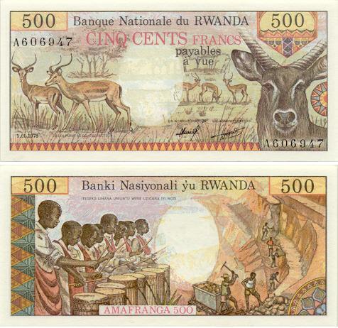 500 Francs Rwanda 1981 (S/C  Rarisimo RRR) RW13
