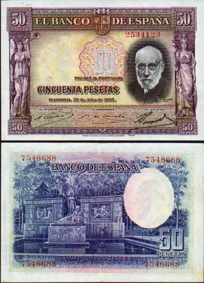 Spain - Spanish Peseta Currency Bank Note Image Gallery