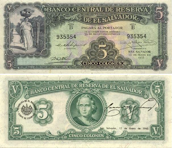 El Salvador 5 Colones 1938 Salvadorian Currency Bank Notes Paper Rh Banknotes Com Money In To Dollars Is Called