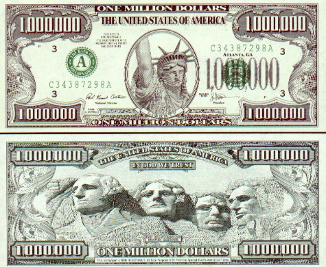 Lot Of 10 U.S Million Dollar Bill Lady Liberty series 2001 Novelty Money