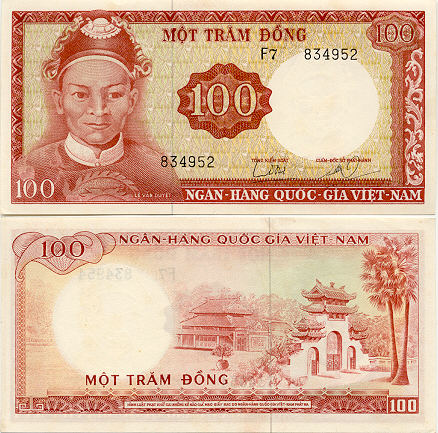 South Viet Nam 100 Dong 1966 - Vietnamese Currency Bank