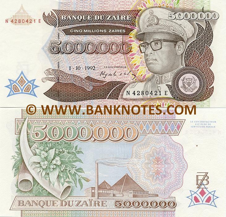 Zaire 5000000 Zaires 1992 - Zairean Currency Bank Notes, African ...