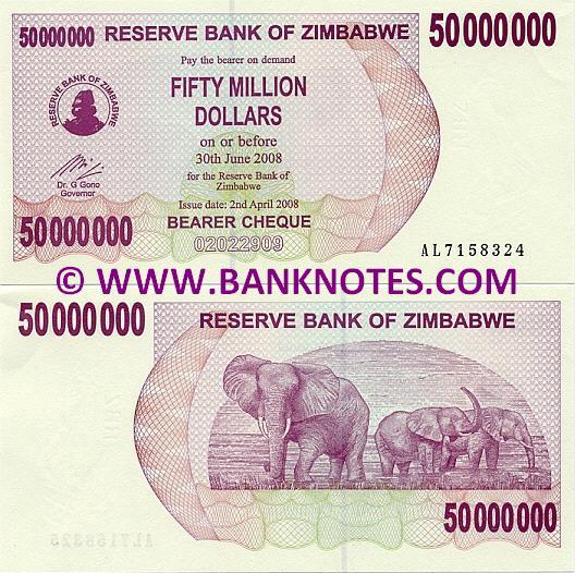 Zimbabwe 50 Million Dollars 2008