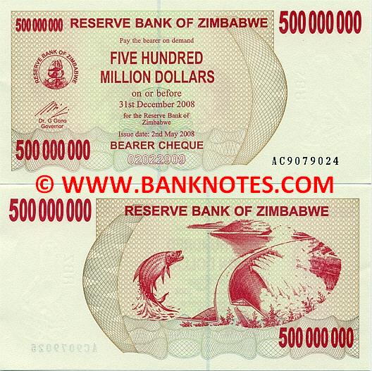 Zimbabwe 500 Million Dollars 2008