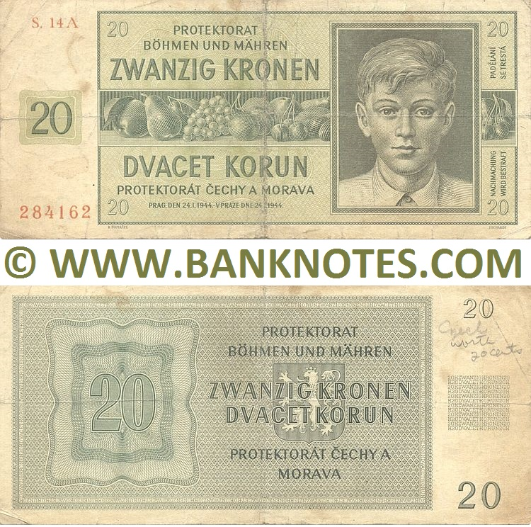 Bohemian and Moravian Currency Banknote Gallery