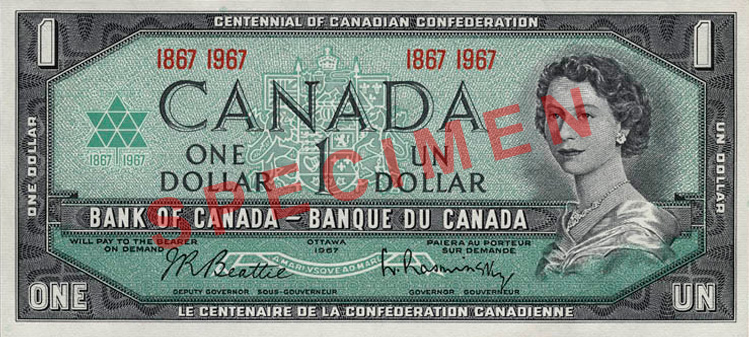canada 1 dollar 1967 canadian currency bank notes north american paper money world currency. Black Bedroom Furniture Sets. Home Design Ideas