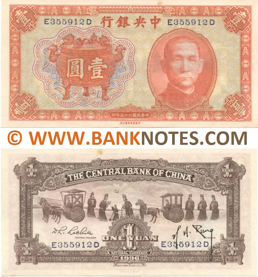 CHINA 1 YUAN 1936