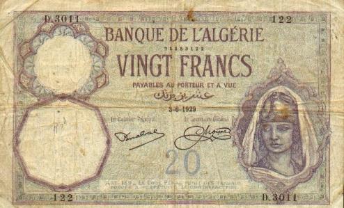 Banknotes com - Algeria 20 Francs 1929 - Your Source of