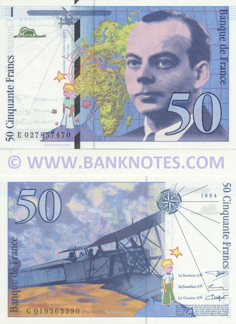 last series France banknote year 1994 50 francs Antoine de Saint-Exupéry
