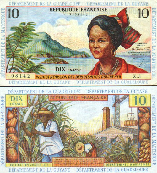 French Antilles 10 Francs 1964-1975 - French Currency Bank Notes ...