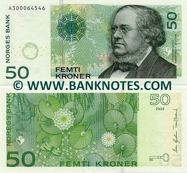 Norway 50 Kroner 2008 Norwegian Currency Bank Notes European