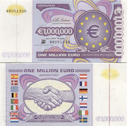European Union 1 Million Euro 2000 (not real money) (NB051326) UNC