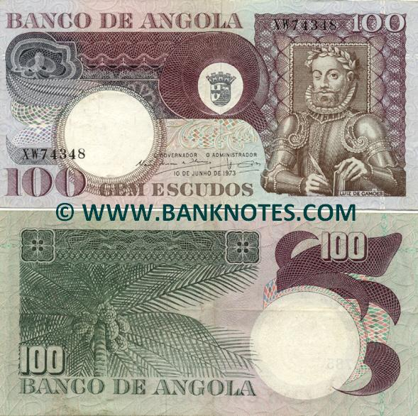 Angola 100 Escudos 1973 (ser#varies) (circulated) VF