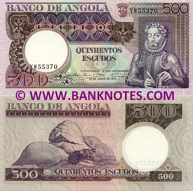 Angola 500 Escudos 1973 (ser#varies) (circulated) VF
