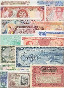 Banknote Country-Set of 100 different countries banknotes UNC