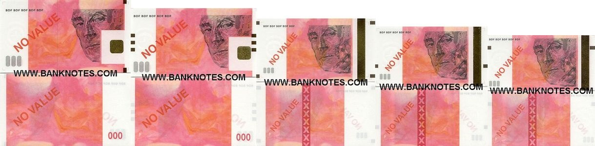 France 5, 10, 20, 50 and 100 Euro-sized test note set of 5 (watermarks) UNC