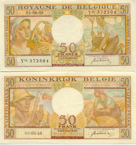 Belgium 50 Francs 1.6.1948 (E01/315913) (circulated) VF