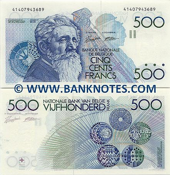 Belgium 500 Francs (1982-98) (Sig: Lakière & Godeaux) (40704598166) (circulated) F-VF