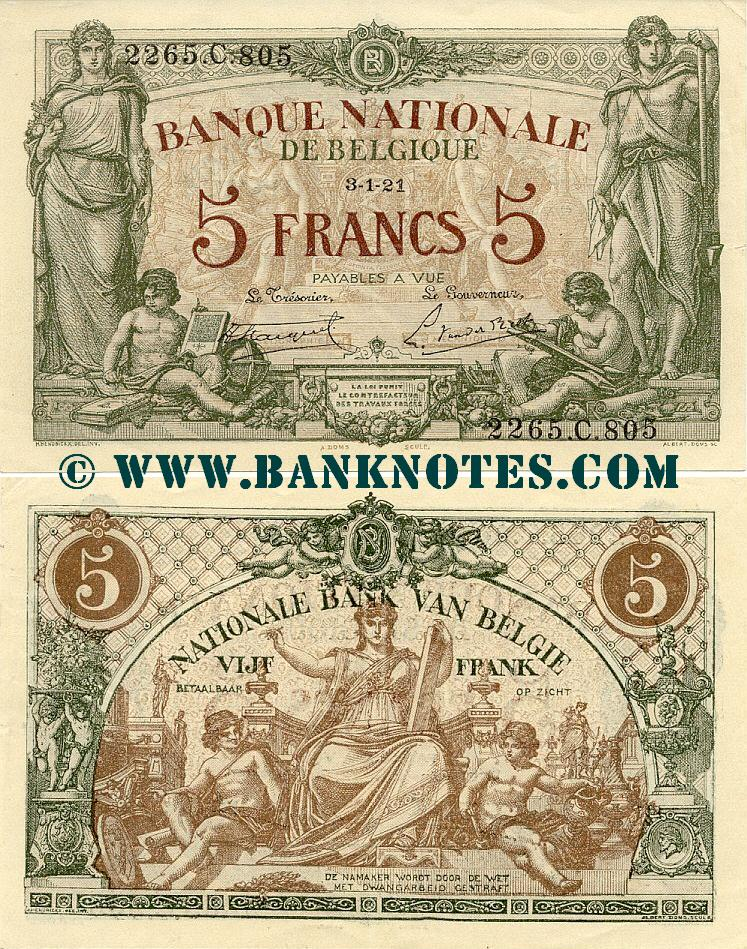 Belgium 5 Francs 3.1.1921 (2265.C.805) (circulated) XF