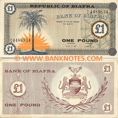 Biafra 1 Pound (1967) (A/C 6220403) (lt. circulated) XF