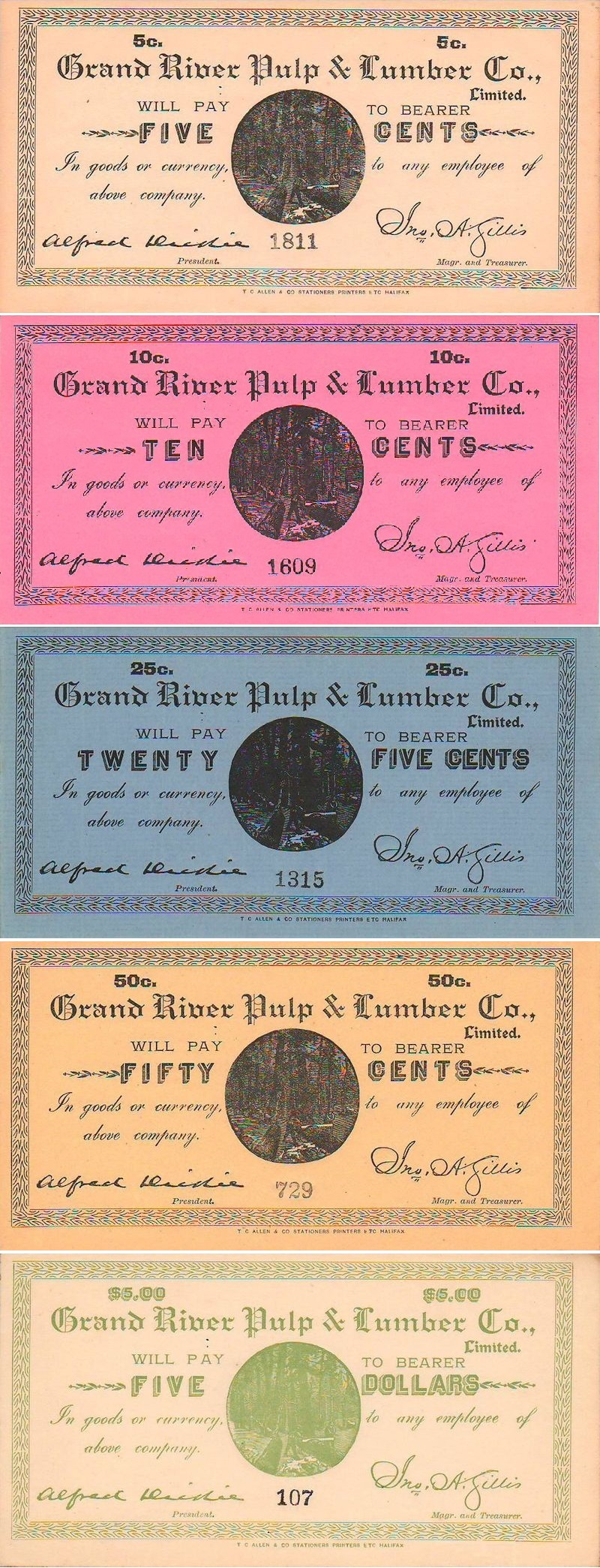 Canada Merchant Scrip from Newfoundland and Labrador - Grand River Pulp & Lumber Company - Set of 5 A/UNC
