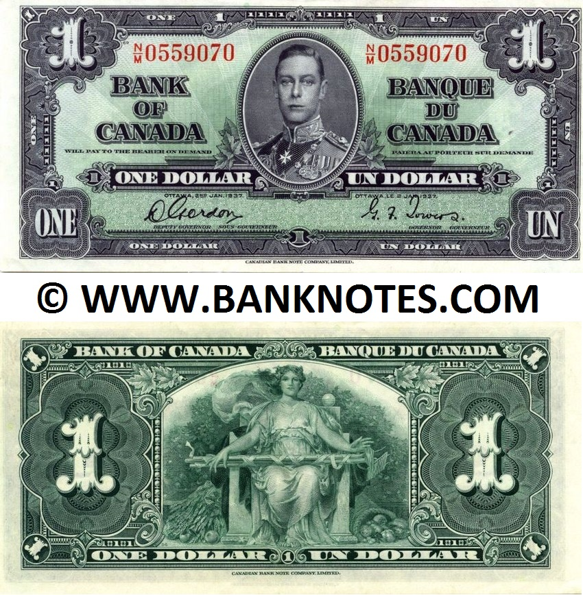 Canada 1 Dollar 1937 (N/M0559070) (lightly circulated) XF