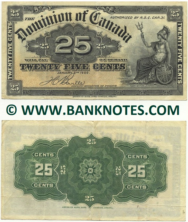 Canada 25 Cents 2.1.1900 (circulated) VF+