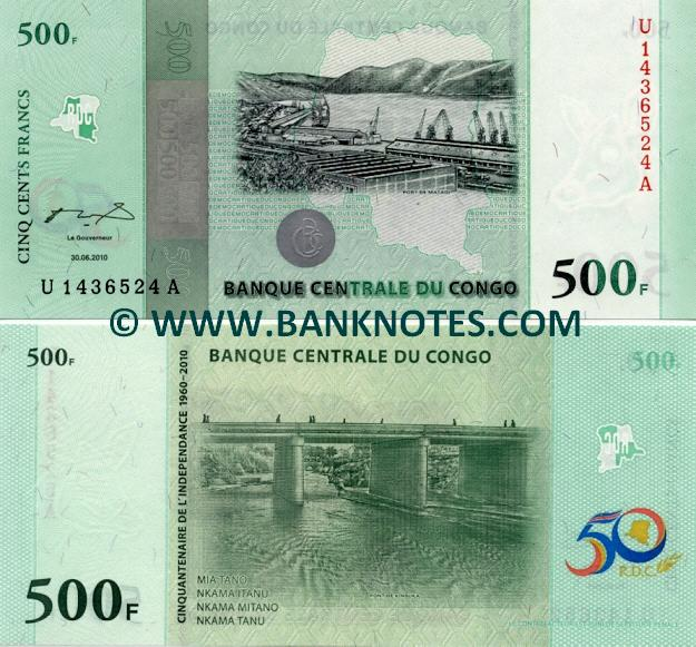 Congo Democratic Republic 500 Francs 30.6. 2010 (U14365xxA) UNC