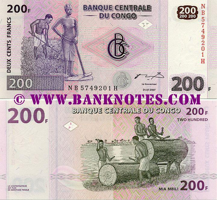 Congo Democratic Republic 200 Francs 31.7.2007 (NB57492xxH) UNC