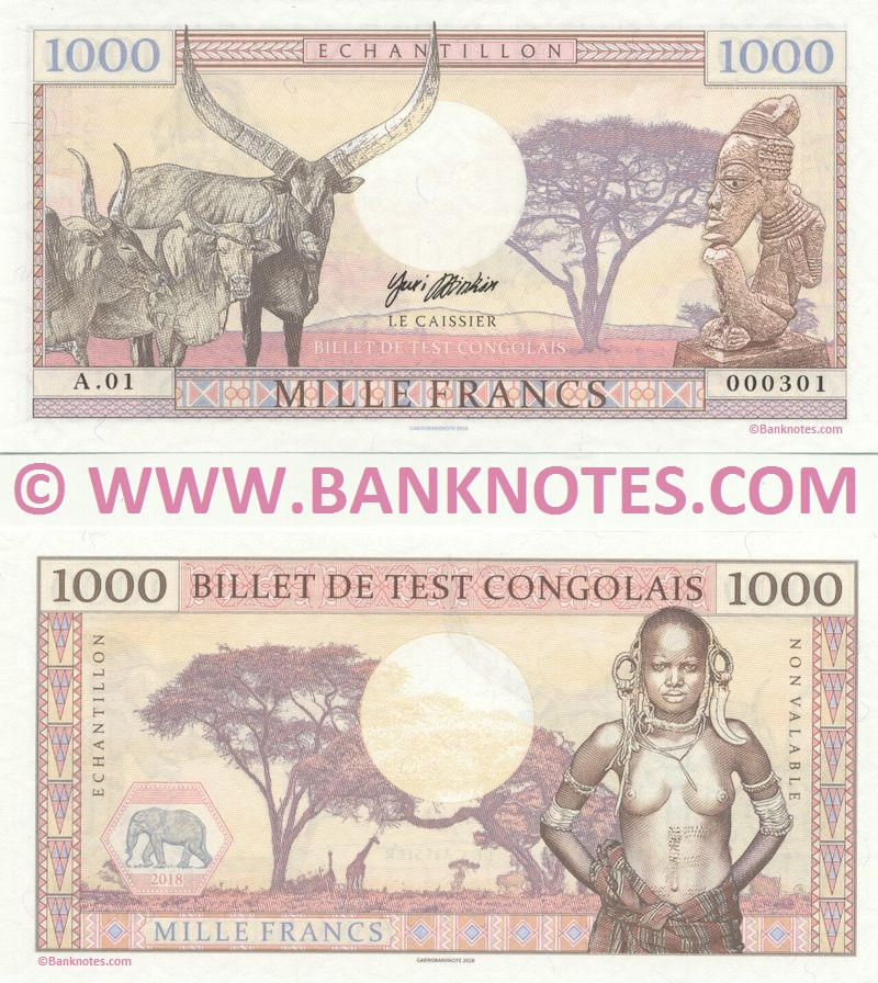 Congo Republic 1000 Francs 2018 Private product (Test Note) (A.01/000303) UNC