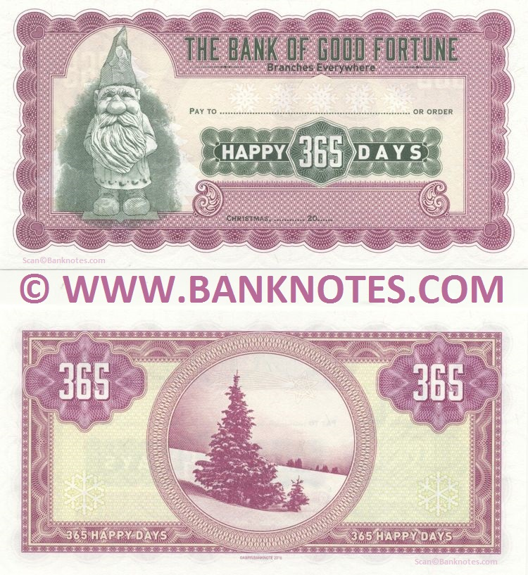 Universal Christmas Cheque: Bank of Good Fortune: 365 Happy Days UNC