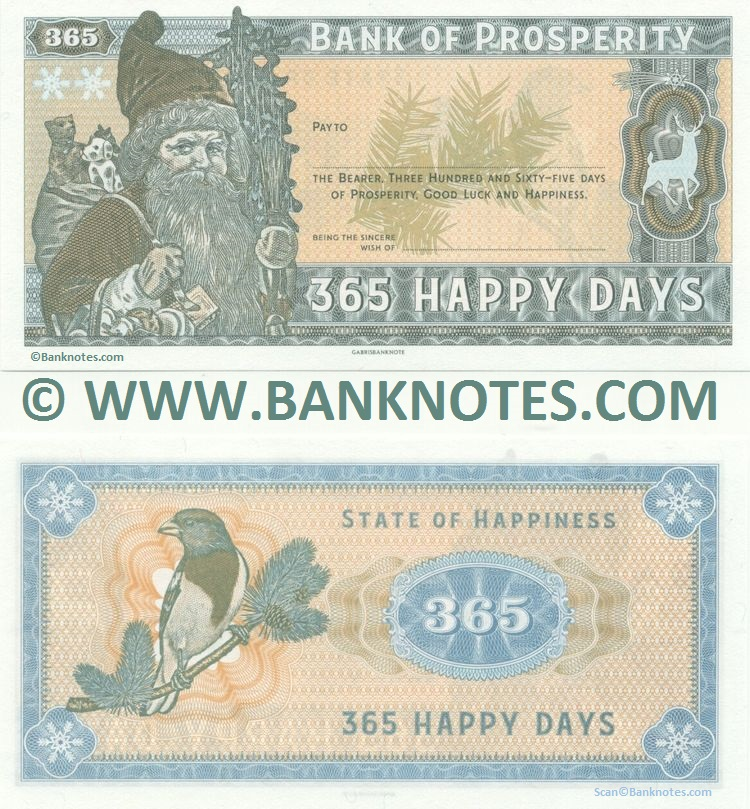Universal Christmas Cheque: Bank of Prosperity: 365 Happy Days UNC