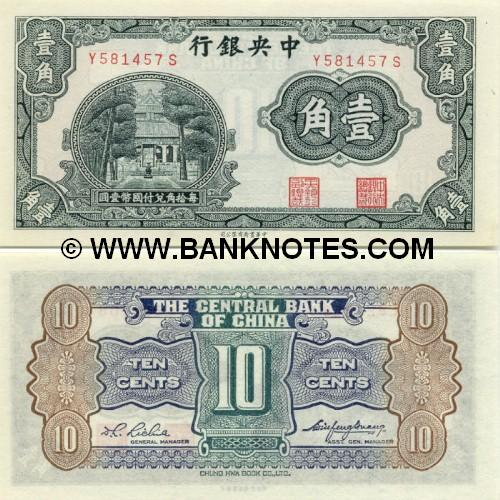 China 10 Cents = 1 Chiao (1931) (L303625Y) UNC