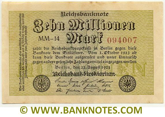 Germany 10 Million Mark 22.8.1923 (DB-12/128140) (circulated) VF+