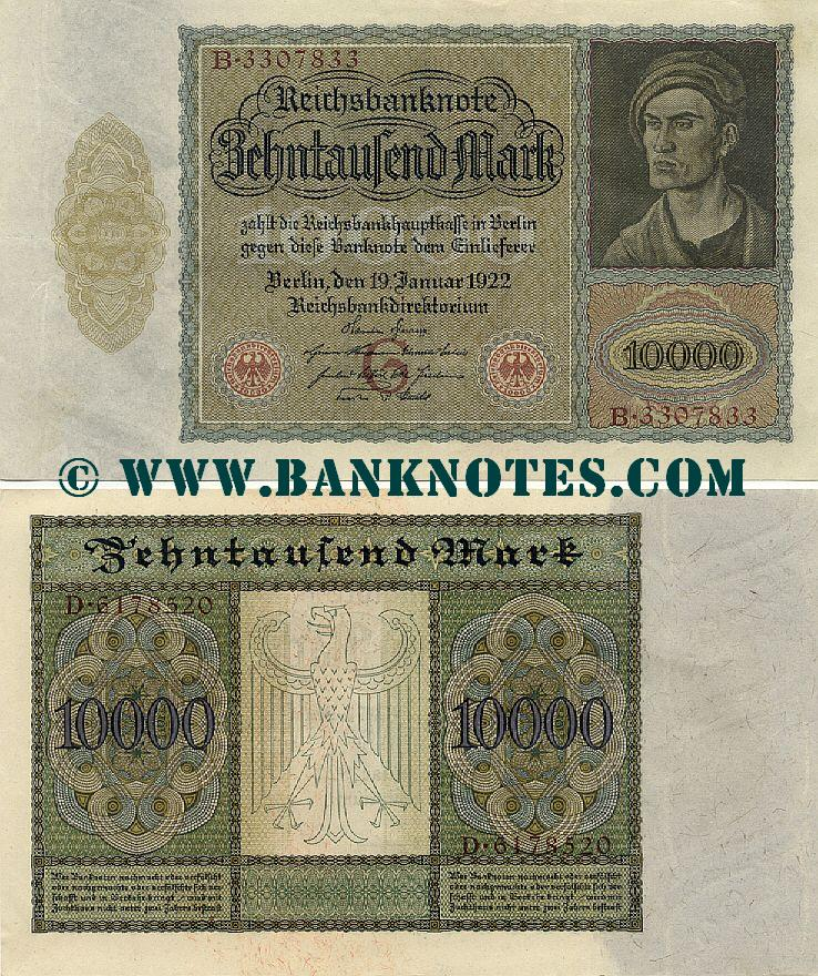 Germany 10000 Mark 19.1.1922 (E.4935220) (lt. circulated) XF+
