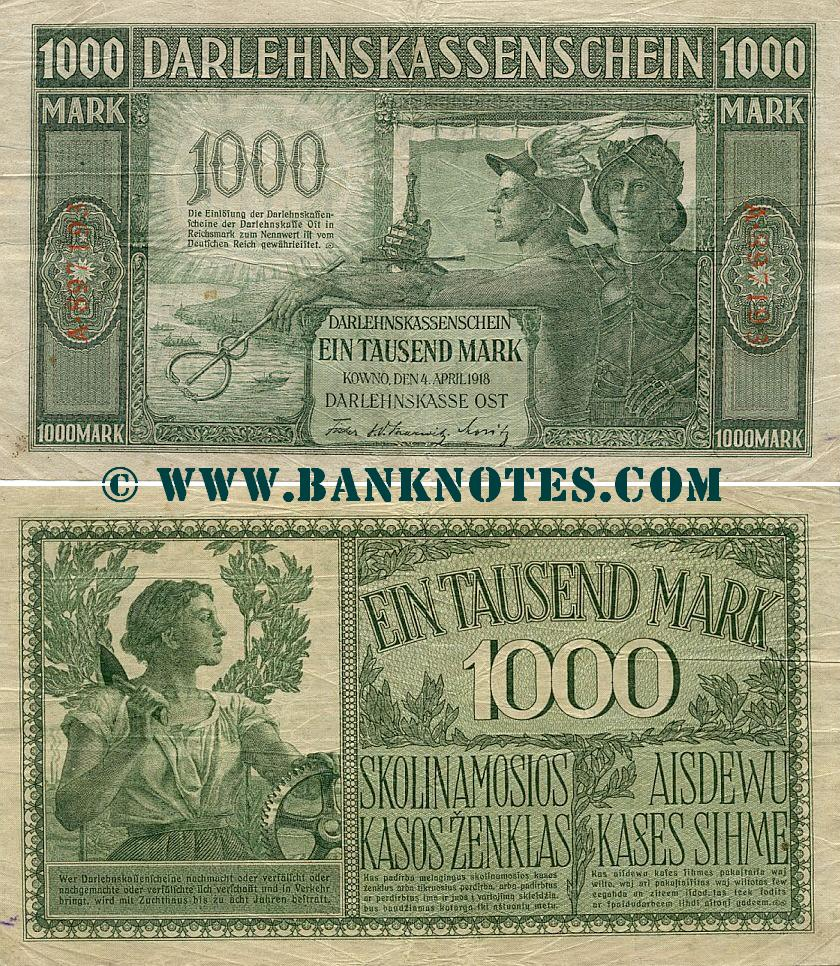 Germany 1000 Mark 4.4.1918 (A.897193) (circulated) F-VF