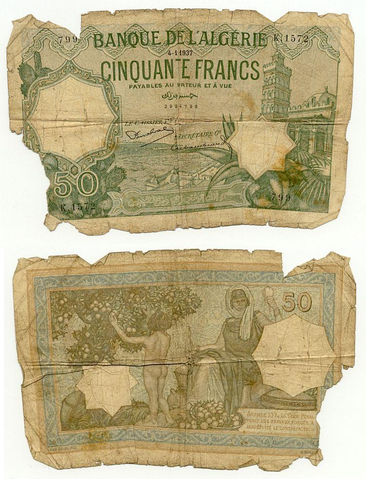 Algeria 50 Francs 4.1.1937 (K.1572/39284799) (heavily circulated) Fair