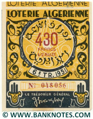 Algeria lottery 1/2 ticket 430 Francs 1951 Serial # 048056 UNC