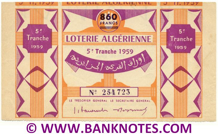 Algeria Lottery ticket 860 Francs 1959. Serial # 254723 (used) XF