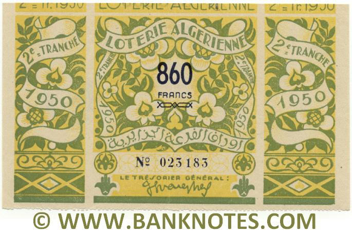 Algeria Lottery ticket 860 Francs 1950. Serial # 023183 (nice) XF+